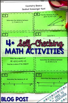 Whether you have large class sizes or small groups that require lots of individual attention, self-checking math activities . Leadership Activities, Group Activities, Hands On Activities, Elementary School Counseling, Elementary Schools, Scavenger Hunts, Secondary Math, Cooperative Learning, Math Classroom
