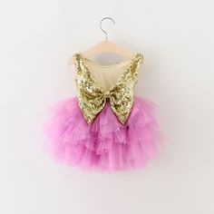 """The """"Brittany"""" Gold Sequin Bow Fuchsia Dress"""