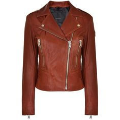 BELSTAFF Marving Leather Jacket (114795 DZD) ❤ liked on Polyvore featuring outerwear, jackets, lapel jacket, brown moto jacket, brown jacket, rider jacket and brown motorcycle jacket