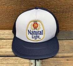 NATURAL LIGHT Beer Vintage 80s Navy Blue  amp  White Snapback Trucker Hat  https   71df940e29f2