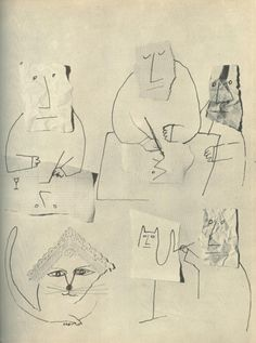 """saul steinberg… """"the passport"""" (1954), llustrations from the 1950s from the new yorker, harper's bazaar and vogue @ hoodedutilitarian, @ unrincondesombra"""