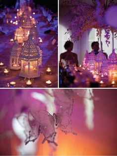 purple decorations for a wedding in the evening
