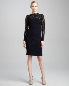 Lace-Yoke Tweed Boucle Dress, Blue/Black by Valentino at Neiman Marcus.