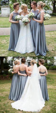 Simple Satin Grey Spaghetti Straps Floor-length Bridesmaid Dress,Formal Evening Dresses,WGY0211