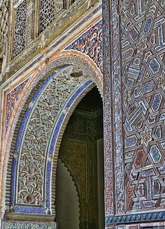 Listed as a UNESCO World Heritage Site, the Real Alcázar is Seville's most visited attraction. Pictured here is intricate moorish mosaic tile flourishes of an interior passageway. Alcazar Seville, Medieval Fortress, 11th Century, Flourishes, Most Visited, Moorish, Heritage Site, Mosaic Tiles, Attraction