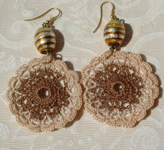Crochet earring -Large crochet earring -Crochet earring jewelry- Brown earring from lindapaula on Etsy. Saved to Crochet. Crochet Towel, Wire Crochet, Crochet Crafts, Crochet Stitches, Crochet Projects, Knit Crochet, Textile Jewelry, Beaded Jewelry, Diy Accessories