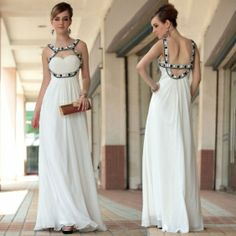 Charming A-Line Jewel Empire Floor-length Beaded White Evening Dress