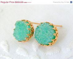 BLACK FRIDAY SALE Druzy earrings Mint green by EldorTinaJewelry, $53.10