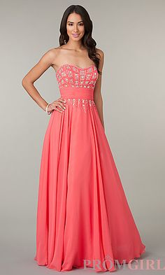 Floor Length Strapless Sweetheart Dress at PromGirl.com #fashion #prom #dresses