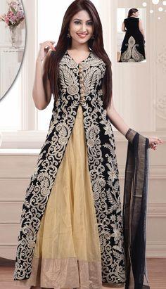 Fashionable Indian Black Velvet Anarkali Suit, Dress