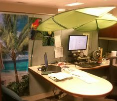 My cubicle... Thank you Ikea & Party City for killing the glare from fluorescent lights