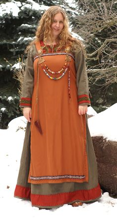 Love the stripe of color at the bottom -viking dress