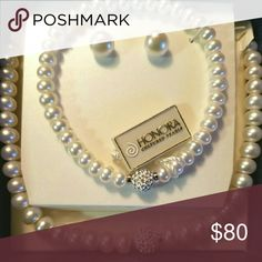 """Honora Cultured Pearls Necklace Set Most have Sterling Silver white Honora Cultured Pearls necklace, earrings and bracelet set, 18"""" inches in length. Honora Jewelry Necklaces"""