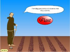 Gregor Mendel and blending theory cartoon  and pea farming activity.