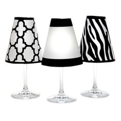Wine glasses + flameless tea lights + mini lampshades = AWESOME