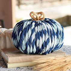 Braided Denim Pumpkin - Grandin Road