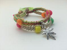 Neon Glow in the Dark Cannabis Leaf Macrame Hemp Bracelet by HemptressDesigns on Etsy