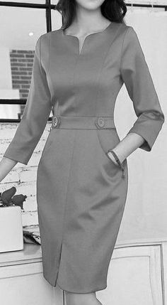 Black dress elbow sleeve No pleat Simple Dresses, Elegant Dresses, Pretty Dresses, Vintage Dresses, Casual Dresses, Dresses For Work, 1950s Dresses, Dress Outfits, Fashion Dresses