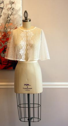 Dotted Swiss & Vintage Lace Wedding Capelet The by TruLuCouture
