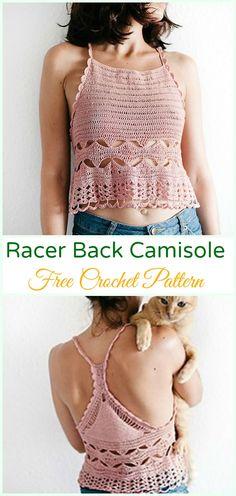 Crochet Racer Back Camisole Top Free Pattern - #Crochet; Women #CropTop; Free Patterns