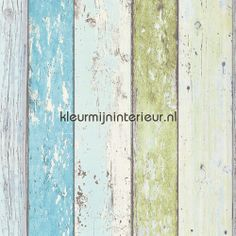 Sloophout turquoise-groen hout behang