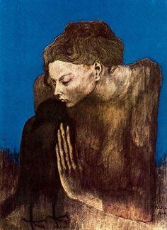 Pablo Picasso, Donna con Corvo, 1904. on ArtStack #pablo-picasso #art