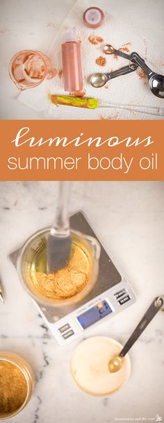 I'm pretty excited about this lovely Luminous Summer Body Oil—it's got some pretty neat stuff going for it. While one certainly can make (and I definitely have) a super-simple body oil by simply combining mica and oil, I wanted to … Continue reading → Homemade Skin Care, Homemade Beauty Products, Homemade Soaps, Aloe Vera, Shimmer Body Oil, Dog Treat Recipes, Summer Body, Beauty Recipe, Bath And Body