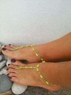 Green beads macrame Foot jewelry Anklet, Nude shoes, Foot jewelry, Wedding, Victorian Lace, Sexy, Lolita, Yoga, Anklet