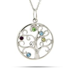 6 Stone Sparkling Crystal Family Tree Pendant... Possible gift for our girls.