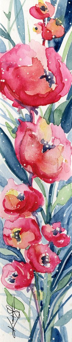"Abstract Flower Watercolor Painting, Pink, Red, Poppy, Poppies, Tiny Small art ""Itsy Bitsy Blossoms 4"" by Kathy Morton Stanion EBSQ"