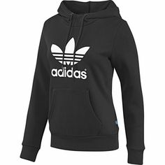 Femmes Sweat-shirt à capuche Trefoil, Black / Running White, zoom