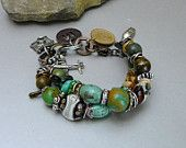 REserved for Paula Watkins - Layaway Payment 2 -Natural Turquoise Bracelet with Jasper and Lampwork Beads and Charms- OOAK  - Adjustable