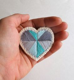 Geometric heart brooch with mint green and gray colors for Valentine's Day or anytime.