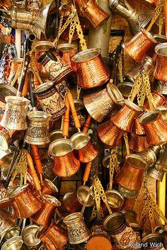 Copper coffee pots - Grand Bazaar in Istanbul