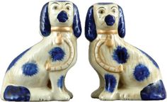 Large Staffordshire Dog Pair in Blue