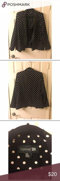 Black and whit Polka Dot Blazer Black blazer with white polka dots from Forver21. Work at most 3 times. Size large. Forever 21 Jackets & Coats Blazers