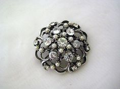 Vintage Clear Rhinestone & Faux Pearl PIN Brooch Domed Circle Dark Silver Tone    ....SOLD