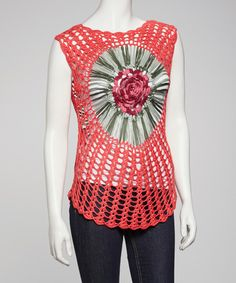 Take a look at this Coral Flower Crocheted Top by SR Fashions on #zulily today!