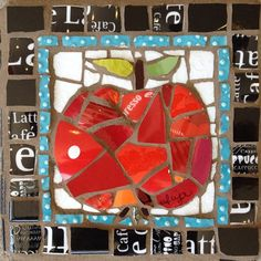 An Apple A Day  by Anja Hertle  ~ Maplestone Gallery ~ Contemporary Mosaic Art