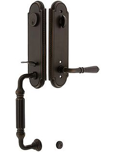 Forged Iron Colonial Style Entry Door Set With Curled Lever Interior ...