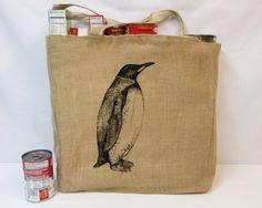 Penguin Tote Bag Jute Tote Bag Cotton Tote by FrumpyWear on Etsy, $9.00