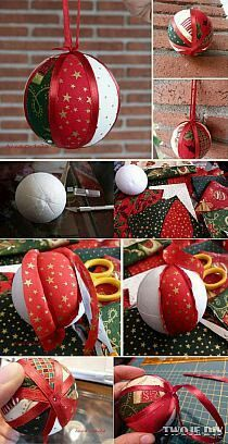 Christmas Ornament Tutorial - Pattern - DIY - No Sew - Drapes Quilted Christmas Ornaments, Christmas Fabric, Felt Christmas, Homemade Christmas, Christmas Tree Ornaments, Vintage Christmas, Christmas Holidays, Christmas Projects, Holiday Crafts