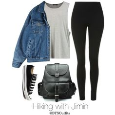 Hiking with Jimin by btsoutfits on Polyvore featuring Topshop, Converse and Chicwish