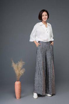 Block pants, linen pants, palazzo pants woman, maxi pants, wide leg pants, gray pants, womens pants, long pants, palazzo pants C1152