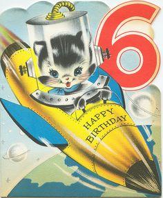Spaceship Kitten Vintage Birthday Card