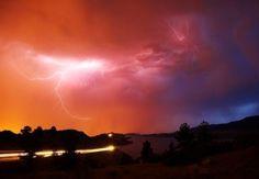 Lightning and streak of car headlights, Colorado, USA #photography #naturephotography #landscape #landscapephotography #lightning #beautiful #colorado #superstock #sky