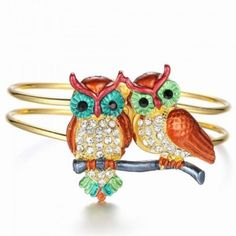 Colorful Owl Bangle Bracelet