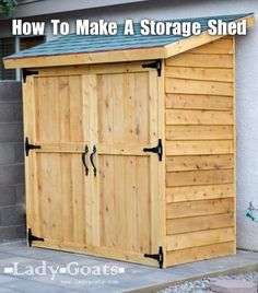 """Ana White shares how to build this beautiful outdoor cedar storage shed for under $260. That's an excellent price and the structure is durable and able to withstand the seasons. The dimensions of the shed are 71.5″ x 37″ x 84."""" According to Ana, this is a weekend project. It took less than 9 hours …"""