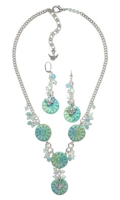 Single-Strand Necklace and Earring Set with Kato Polyclay™, Swarovski Crystal Beads and Antiqued Silver-Plated Pewter Charms