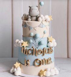 Baby Boy Birthday Cake, Baby Boy Cakes, First Birthday Cakes, Baby Shower Cakes, Pretty Cakes, Cute Cakes, Beautiful Cakes, Cake 1 Year Boy, Fondant Cakes